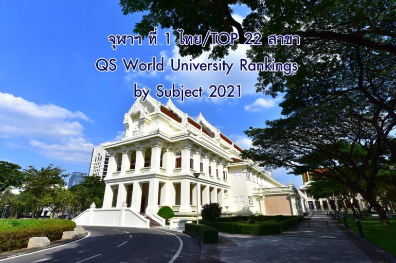 จุฬาฯ ที่ 1 ของไทย และ TOP 22 สาขา จากการจัดอันดับโดย QS World University Rankings by Subject 2021